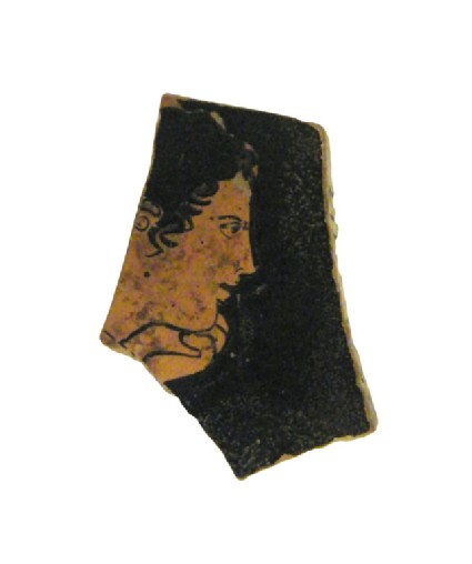 Attic red-figure pottery cup sherd depicting a mythological scene