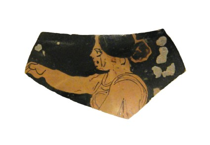 Attic red-figure pottery oinochoe fragment depicting a scene of daily life