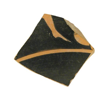Attic red-figure pottery cup sherd depicting a komos or athletics scene