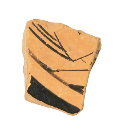 Attic red-figure pottery cup sherd depicting a symposiastic scene