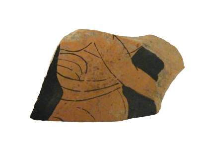 Attic red-figure pottery cup sherd depicting a male figure