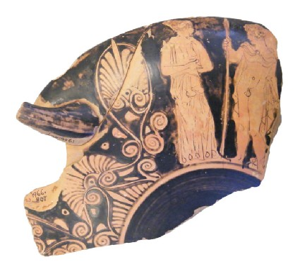Attic red-figure stemmed pottery cup fragment depicting a warrior scene