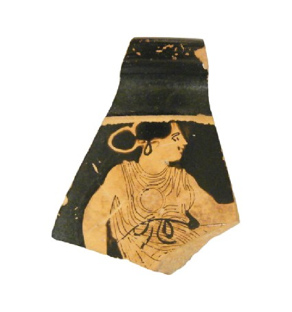 Attic red-figure stemless pottery cup sherd depicting a domestic scene