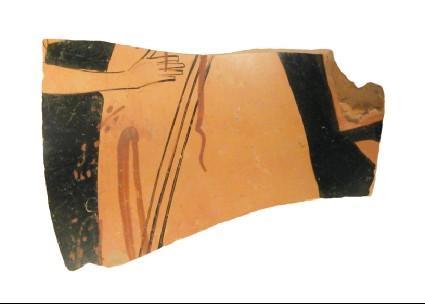 Attic red-figure pottery pelike sherd depicting a funerary scene