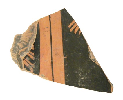 Attic red-figure pottery closed vessel sherd depicting a religious scene