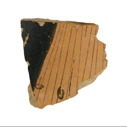 Attic red-figure pottery closed vessel sherd depicting a scene of the daily life