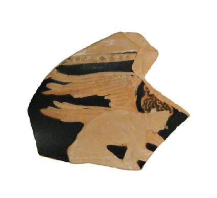 Attic red-figure pottery closed vessel sherd depicting a domestic scene