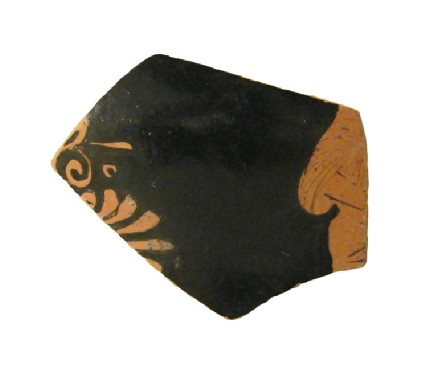 Attic red-figure pottery closed vessel sherd depicting a scene of daily life