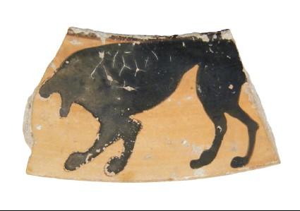 Attic black-figure pottery krater sherd