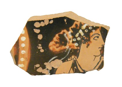 Attic red-figure pottery krater sherd depicting a symposiastic scene