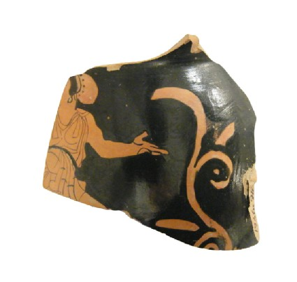 Attic red-figure pottery kantharos fragment