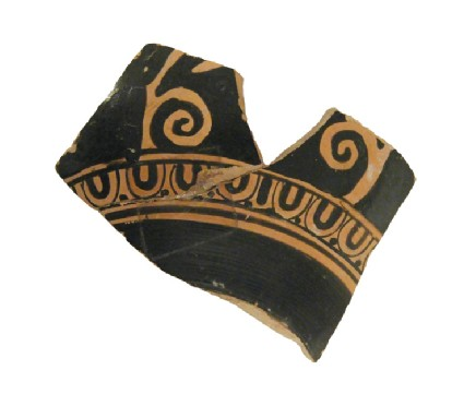 Attic red-figure pottery cup fragment