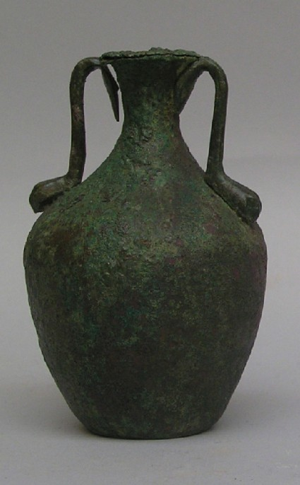Small bronze amphora, or amphoriskos, once provided with a stopper on a chain