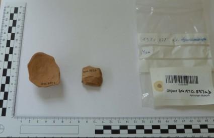 Potsherd of Mycaean IIIC kylix (drinking bowl)
