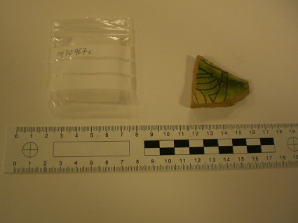 Fragment of glazed Medieval sgraffito wear