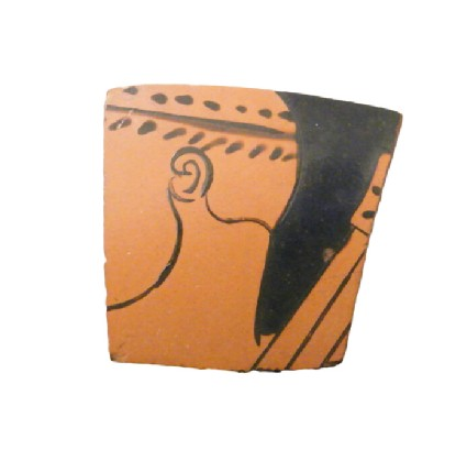 Attic red-figure pottery sherd depicting a mythological scene