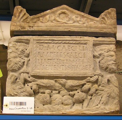 Cinerarium with Latin inscription and lid for Caecilia Treptenis