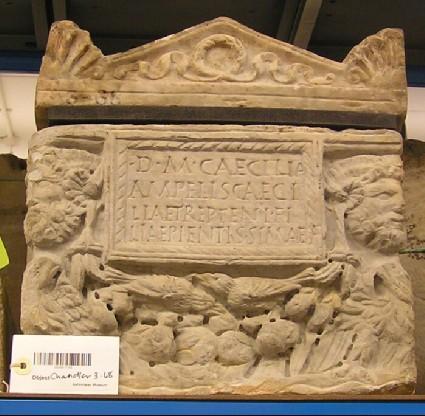 Cinerarium with Latin inscription and lid for Caecilia Treptenis