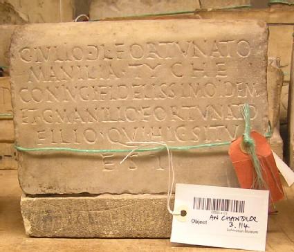 Tombstone with Latin inscription for C. Julius FORTUNATUS