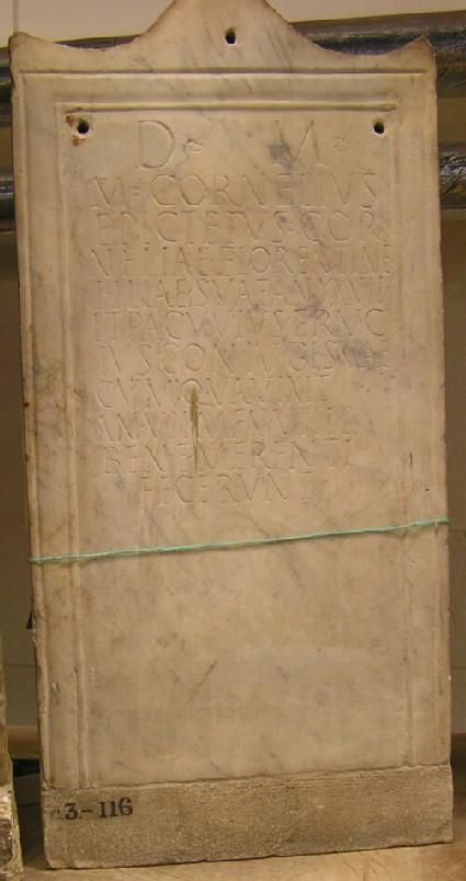 Stele with Latin inscription for M.CORNELIUS EPIKTETUS