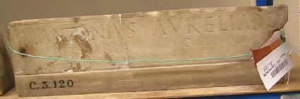 Fragment of a funerary Latin inscription
