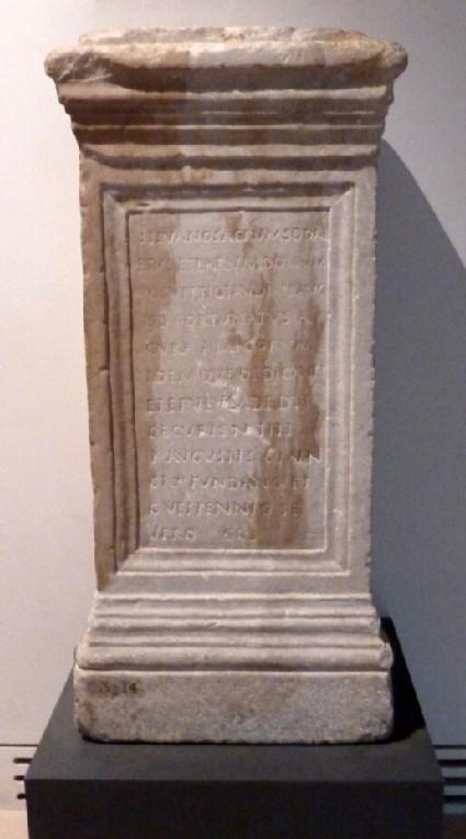 Ara with Latin inscription to Tiberius Claudius Fortunatus