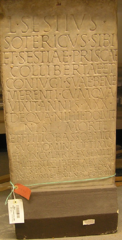 Epitaph with Latin inscription for Sestius Sotericus and wife