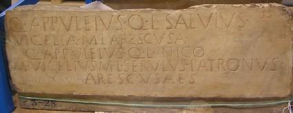Funerary Latin inscription to Quintus Appuleius Salvius and others