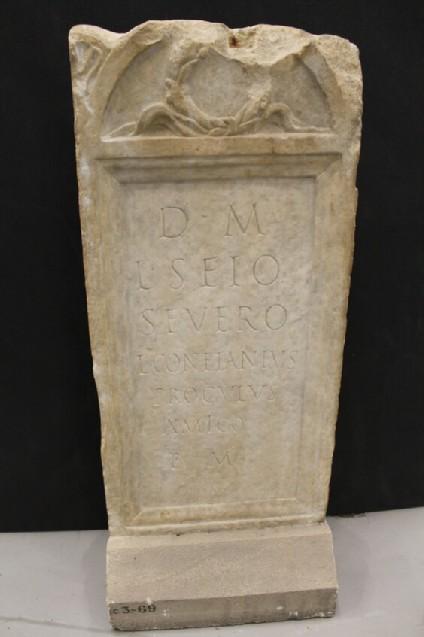 Stele for Latin inscription for L. SEIUS SEVERUS