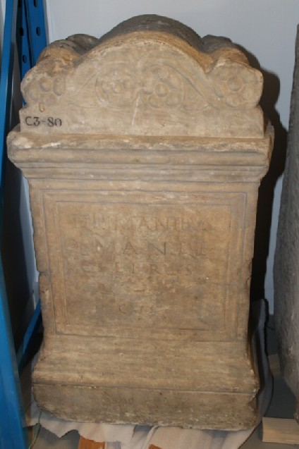 Tombstone, or altar, with Latin inscription