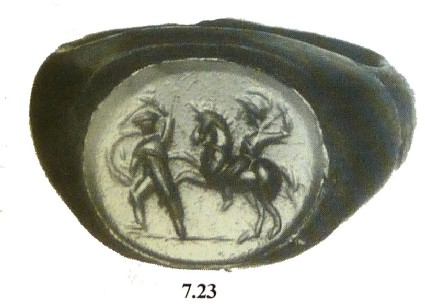 Celtomachy intaglio finger ring engraved with a warrior on horseback