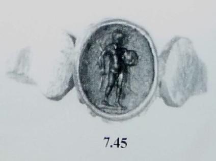 Intaglio gem set in finger ring, athlete