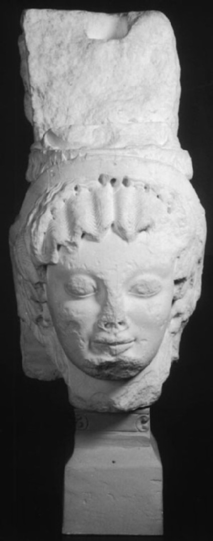 Cast of a statue of the head of a caryatid from Siphnian Treasury, Delphi