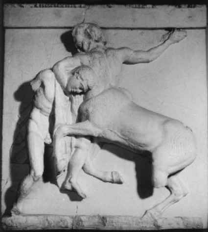 Cast of metope one from the south side of the Parthenon, Athens