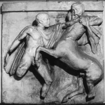 Cast of metope seven from the south side of the Parthenon, Athens