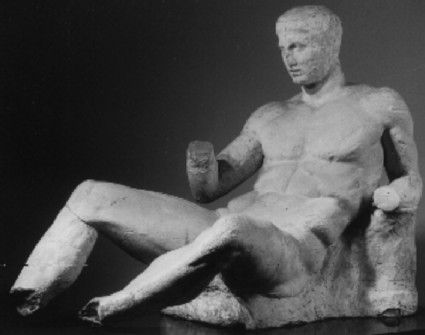 Cast of seating god from the east pediment of the Parthenon, Athens