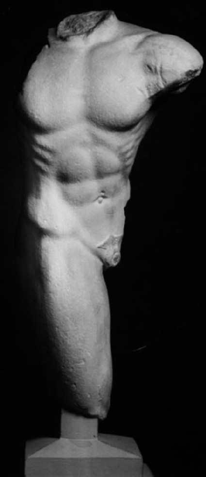 Cast of a male figure in action