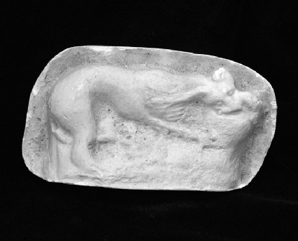 Cast of a mould pressed relief with a cat and a bird, from Agrigento