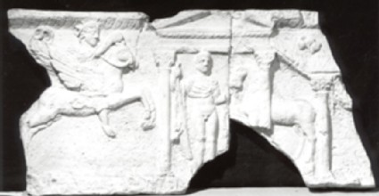 Cast of a frieze with Sol and a Dioskouros from a temple at Corbridge