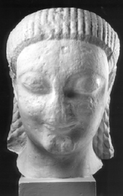 Cast of the head of a colossal kouros, from Samos