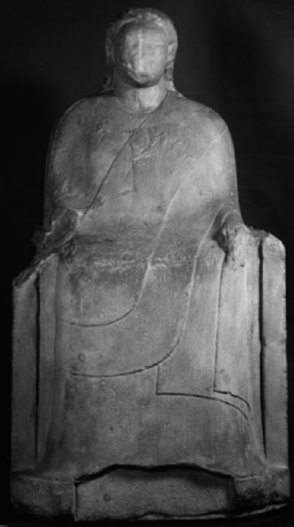 Cast of a man seated on a throne, from Didyma