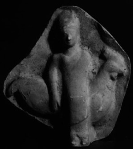 Cast of a relief of a woman riding a cock, from Agrigento