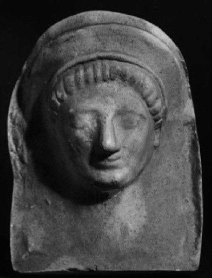 Cast of a relief of a miniature mask of a woman, from Agrigento