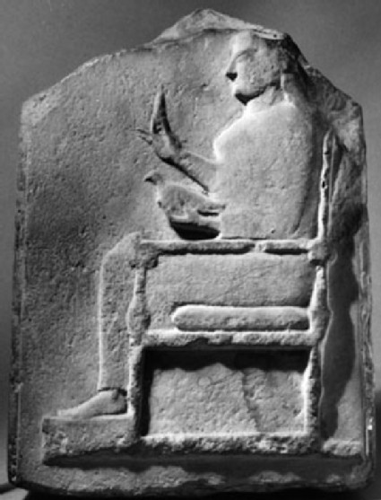 Cast of a relief with a seated goddess, from Thasos