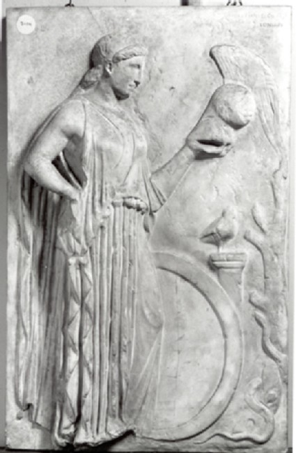 Cast of a votive relief to Athena