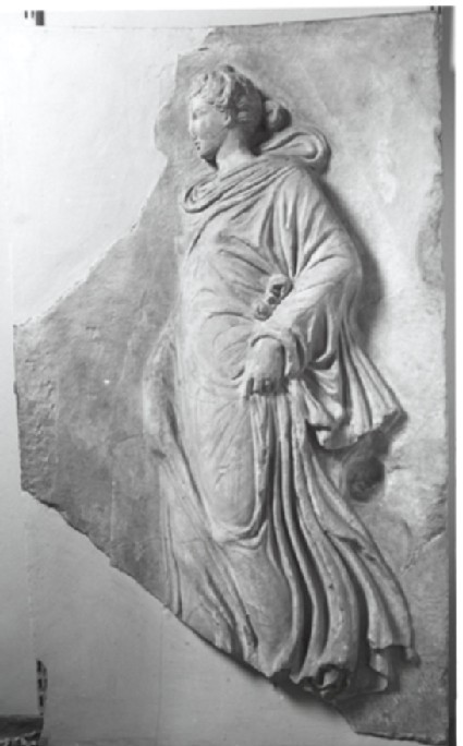 Cast of a relief with dancing figure, probably a nymph or one of the Horai