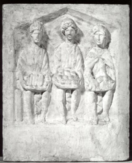 Cast of a votive relief with the three Matres, from Cirencester