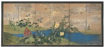 Six-fold screen depicting flowers by a stream