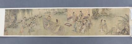 Women in a garden playing music and dancing