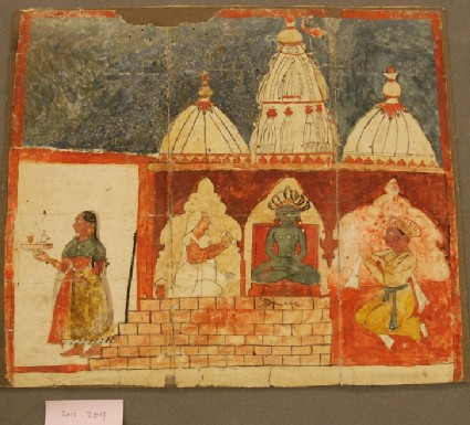 Nobleman having darshan of the Parsvanatha image in a Jain temple